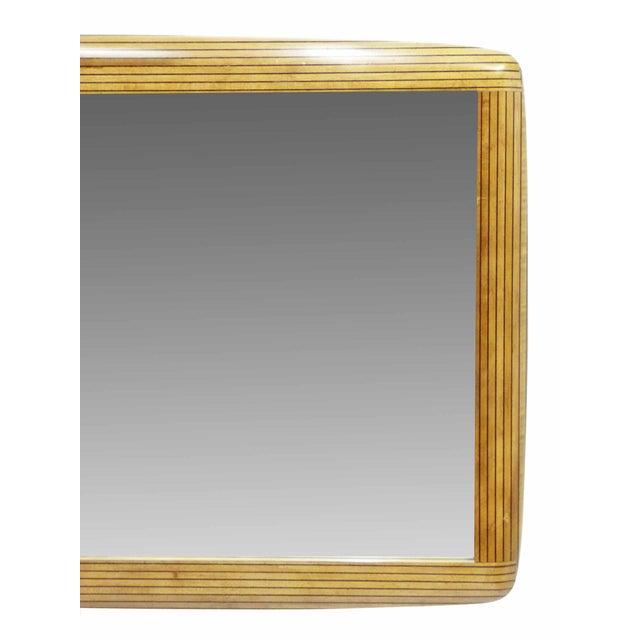Two Tone Ebony Striped Wall Mirror - Image 5 of 8