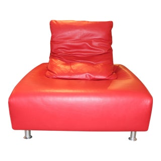 Red Leather Italian Lounge Chair For Sale