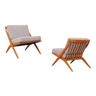 "Vintage Teak ""Scissor"" Lounge Chairs by Folke Ohlsson for Dux For Sale"