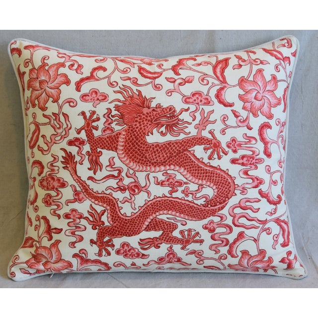 "Cotton Italian Chinoiserie Scalamandre Dragon Feather/Down Pillow 26"" X 22"" For Sale - Image 7 of 8"