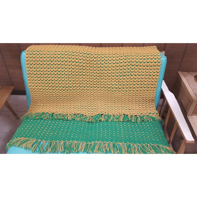 Vintage Handmade Multicolored Crocheted Afghan Throw Blanket For Sale - Image 5 of 7