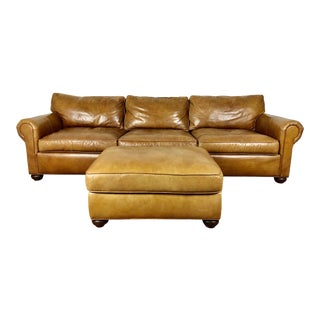 Restoration Hardware Lancaster Leather Sofa and Ottoman - a Pair For Sale