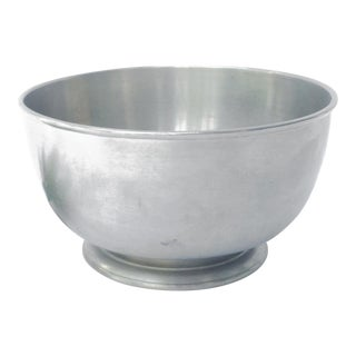 Vintage Footed Silver Serving Bowl - Charleston Gotham Pewter Bowl For Sale