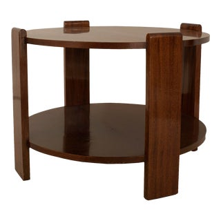 French Art Deco Mahogany Round Coffee Table For Sale
