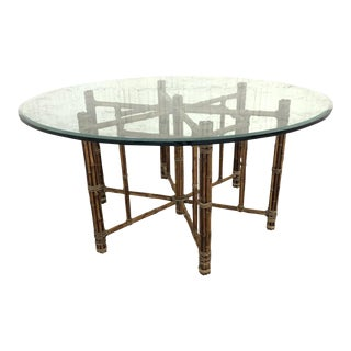 McGuire Bamboo and Raw Hide Hexagonal Dining Table For Sale
