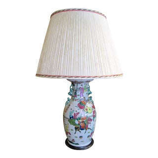 Early 20th Century Chinese Export Famille Rose Lamp For Sale