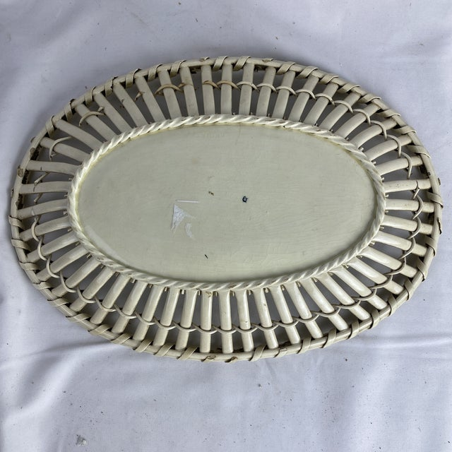 Traditional Creamware Basketweave Platter For Sale - Image 3 of 7