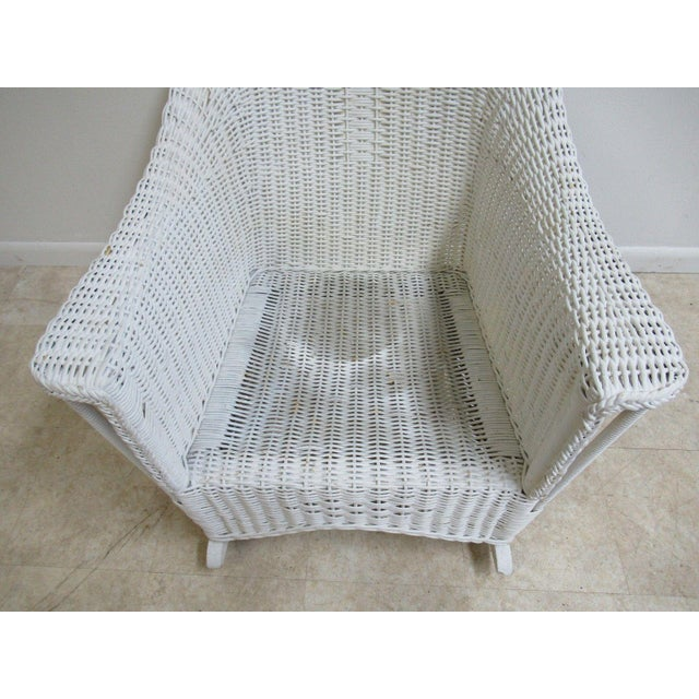 Antique Wicker Outdoor Patio Rocking Chair - Image 5 of 7