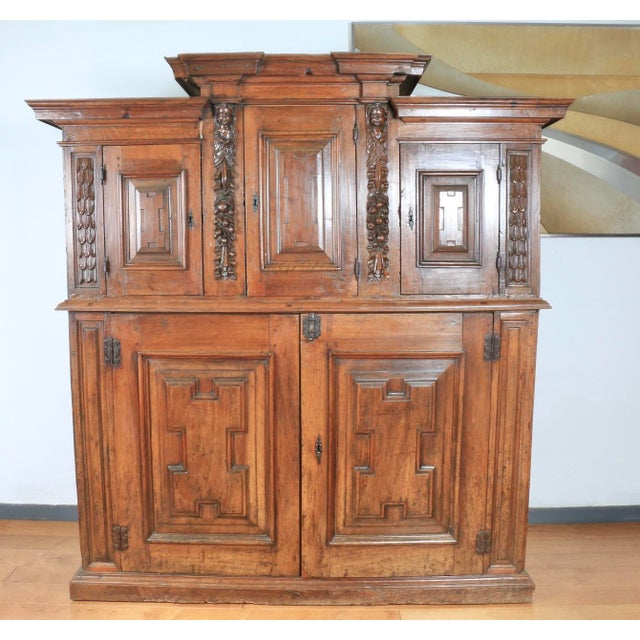 Late 1800's Rustic 2 Piece Italian Cabinet For Sale - Image 13 of 13