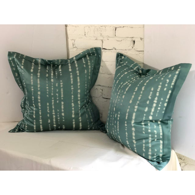 """Fabulous and fun pair of 24"""" square flange edge pillows in cream and light teal green. The pillows have a concealed..."""