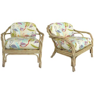 Hollywood Regency McGuire Twisted Rattan Club Chairs - a Pair For Sale
