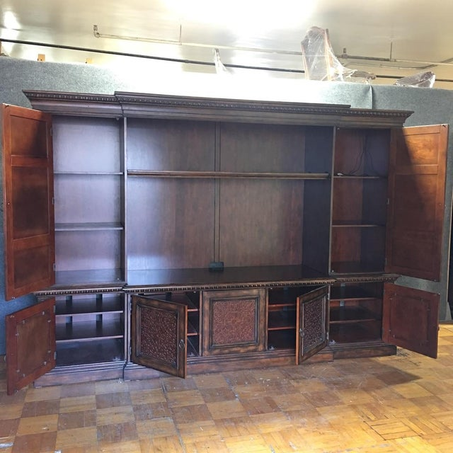 British Colonial Hardwood & Veneer Entertainment Console with Hutch Towers - Image 6 of 9