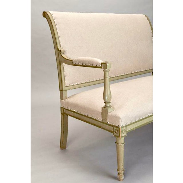 French Empire Style Painted Settee With Neutral Upholstery - Image 5 of 8
