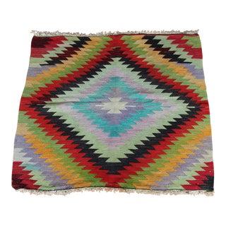 "Square Antalya Turkish Wool Boho-Chic Kilim Rug - 3'8"" x 3'4"" For Sale"