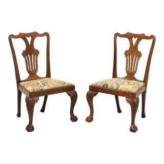 Antique 19th Century Carved Walnut Chippendale Ball N Claw Dining Side Chairs - Pair For Sale