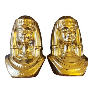 Gold Cleopatra Busts - A Pair