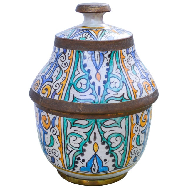 Metal Moroccan Ceramic Lidded Bowl With Arabesque For Sale - Image 7 of 12
