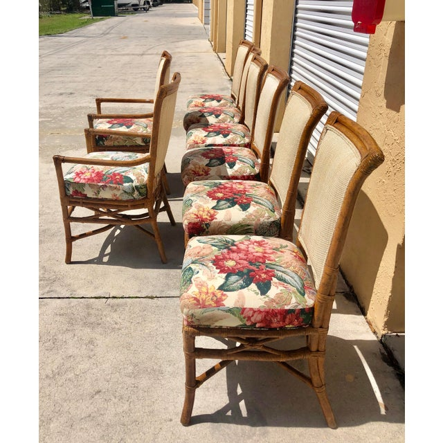 McGuire McGuire or Palecek Bamboo Leather Wrapped Dining Chairs- Set of 8 For Sale - Image 4 of 12