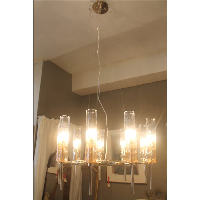 Eight Light Rose Gold Glass Chandelier - Image 6 of 7