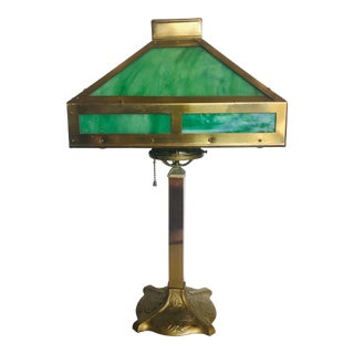 Antique 1930s Mission Style Brass Lamp With Stained Glass For Sale