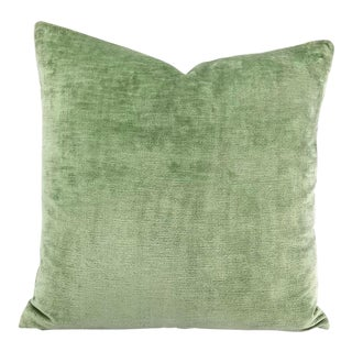 F. Schumacher Linen Velvet in Aqua Pillow Cover For Sale