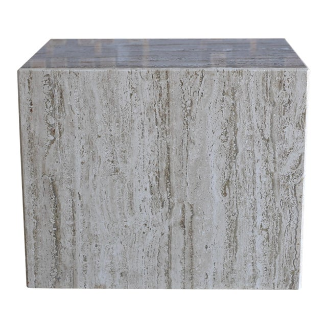 1975 Mid-Century Modern Travertine Pedestal or Side Table For Sale