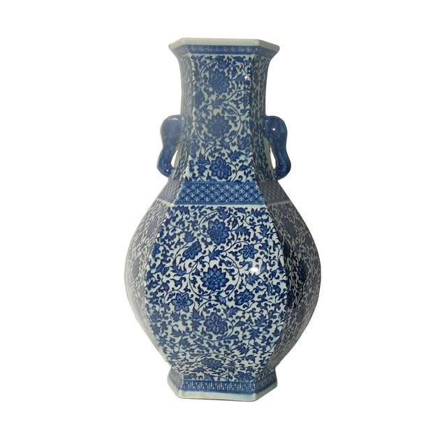 Blue & White Porcelain Hexagon Lotus Flower Vase For Sale