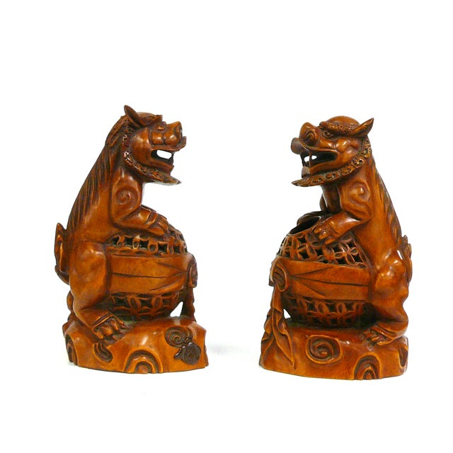 Boxwood Carved Foo Dog Feng Shui Figures - A Pair - Image 1 of 6