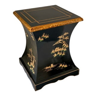 Vintage Oriental Japanese Lacquer Chinoiserie Pagoda Pattern Drink Side End Table For Sale