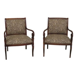 Ethan Allen Animal Print Upholstered Arm Chairs - a Pair For Sale