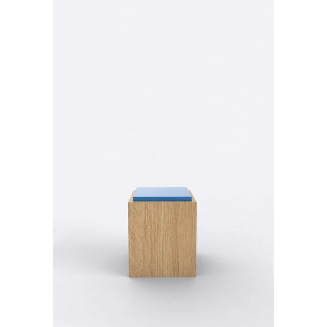 """Orphan Work 103C side table, 2020 Shown in oak and color Available in natural oak with painted top Measures: 15"""" W x 15"""" D..."""