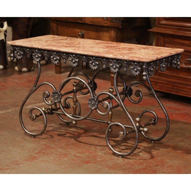 Late 20th Century Late 20th Century French Polished Iron Pastry Table With Red Marble Top For Sale - Image 5 of 11