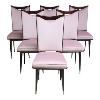 Set of Six Mid-Century Italian Dining Chairs With Nickel Sabots For Sale