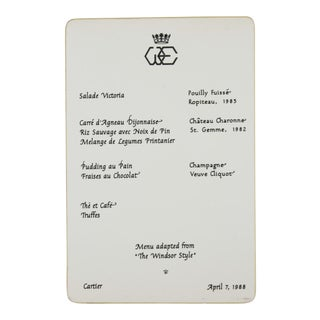 Duchess of Windsor Cartier Menu