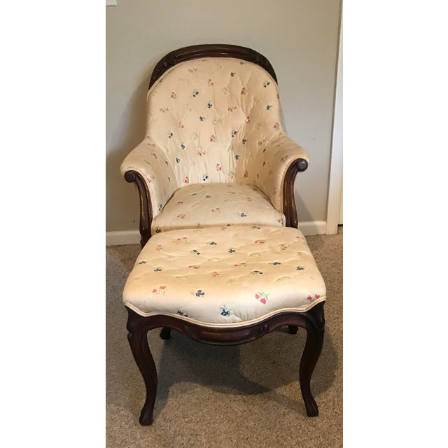 Victoria-era Slipper Chair and matching Ottoman with gorgeous Mahogany turned legs and carving along the chair frame and...