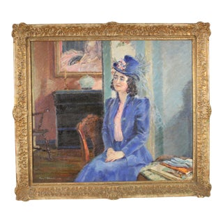 Painting of a Lady in Blue by Mary C. Peterson For Sale