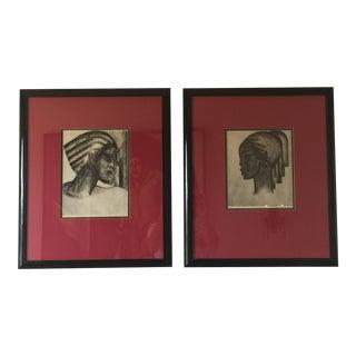 1930s Art Deco Portrait Lithographs by Boris Lovet-Lorski - a Pair For Sale