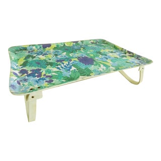 1960s Mid Century Floral Blue and Green Folding Bed Tray or Serving Tray For Sale