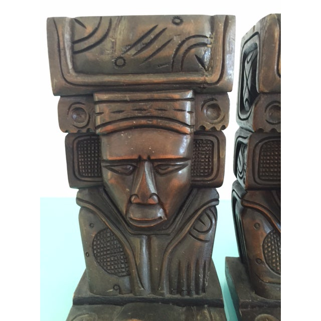 Vintage Wood Carved Aztec Bookends - A Pair - Image 4 of 8