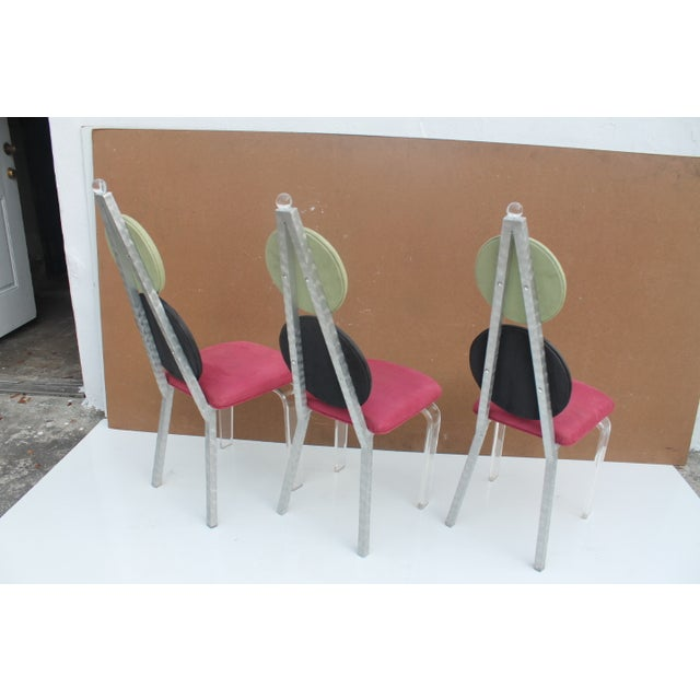 Vintage Lucite & Aluminum Dining - Chairs Set of 3 For Sale - Image 11 of 11