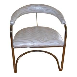 Vintage Thonet Anton Lorenz Chrome Silver Zebra Upholstered Chair For Sale