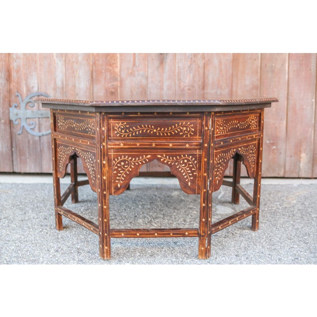 Large Octagonal Bone Inlay Floral Table For Sale In Los Angeles - Image 6 of 9