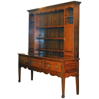 Late 18th Century Baroque Oak and Mahogany Accented China Display Cabinet