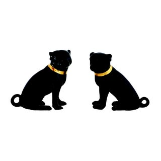 Madcap Cottage Black Porcelain Pug Statuettes - a Pair For Sale