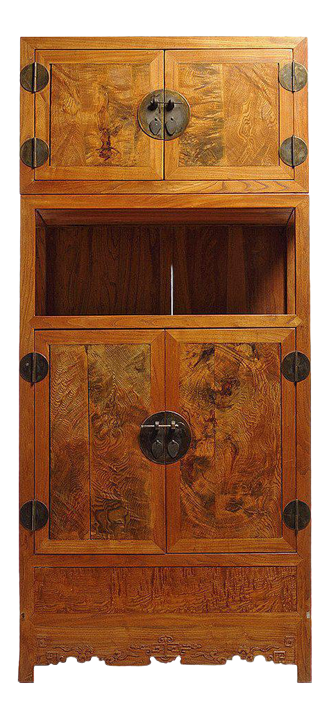 Tall Two Section Burl Wood Cabinet With Four Doors From China, 19th Century  For Sale