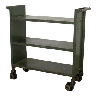 Early 20th C. Industrial Rolling Library Cart C.1900-1930 For Sale