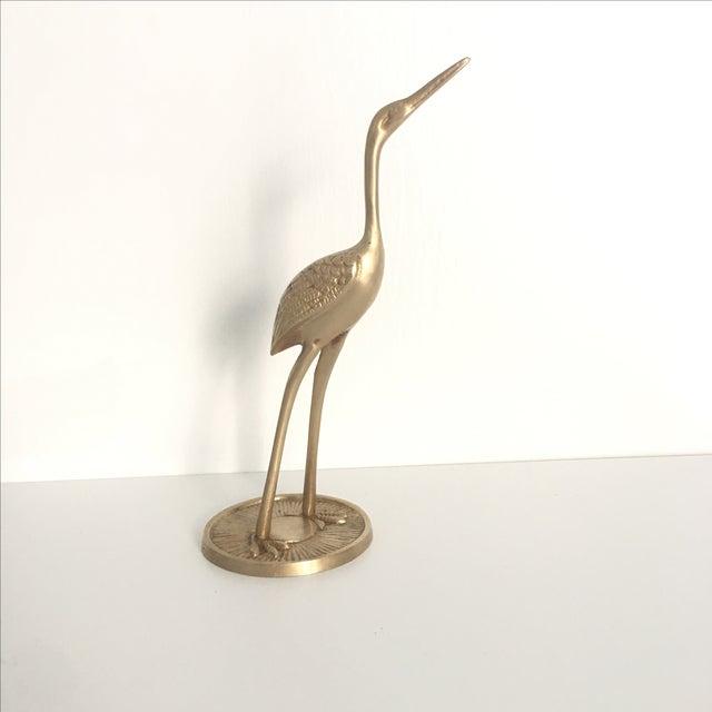 Vintage Mid-Century Brass Crane Figure - Image 2 of 6
