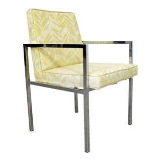 Mid-Century Danish Modern Milo Baughman Founders Chrome Dining/Accent Chair For Sale