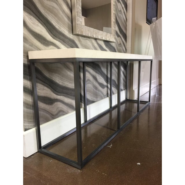 Modern Limestone Topped and Ebonized Axel Console Table For Sale - Image 3 of 5