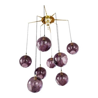 Flash Your Lamps Chandelier - Brass / Glass For Sale
